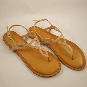 Fergalicious Nude Flat Thong Sandals